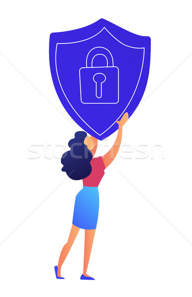 Female IT specialist holds protection shield with lock vector illustration. Stock photo © RAStudio