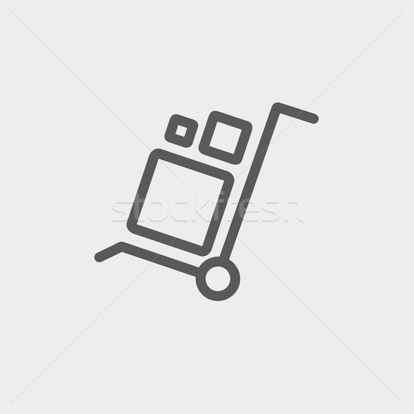 Trolley with boxes thin line icon Stock photo © RAStudio