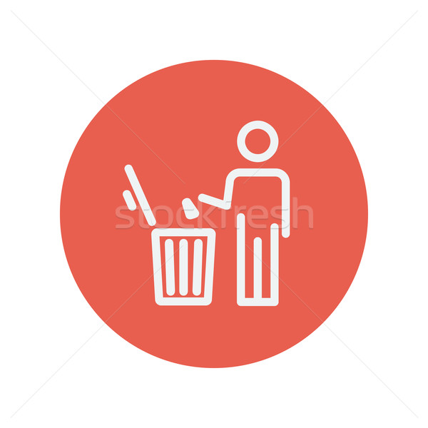 Man throwing garbage in a bin thin line icon Stock photo © RAStudio