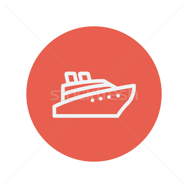 Cruiseschip dun lijn icon web mobiele Stockfoto © RAStudio