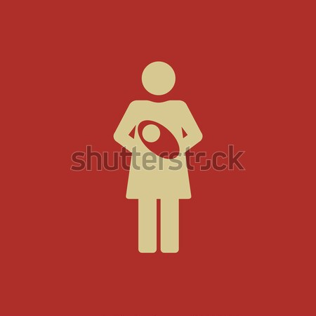 Mother breastfeeding her baby thin line icon Stock photo © RAStudio