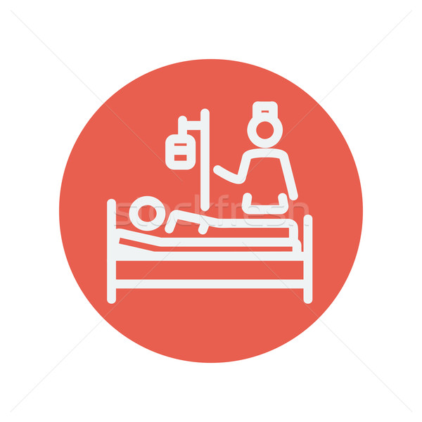 Nurse attending a sick patient thin line icon Stock photo © RAStudio