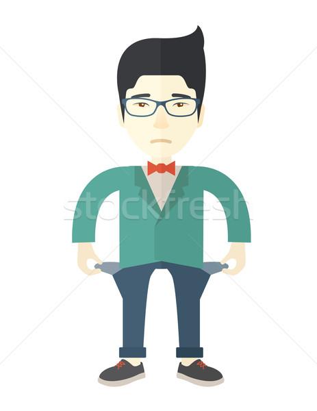 Chinese zakenman is mislukt jonge man permanente slechte Stockfoto © RAStudio