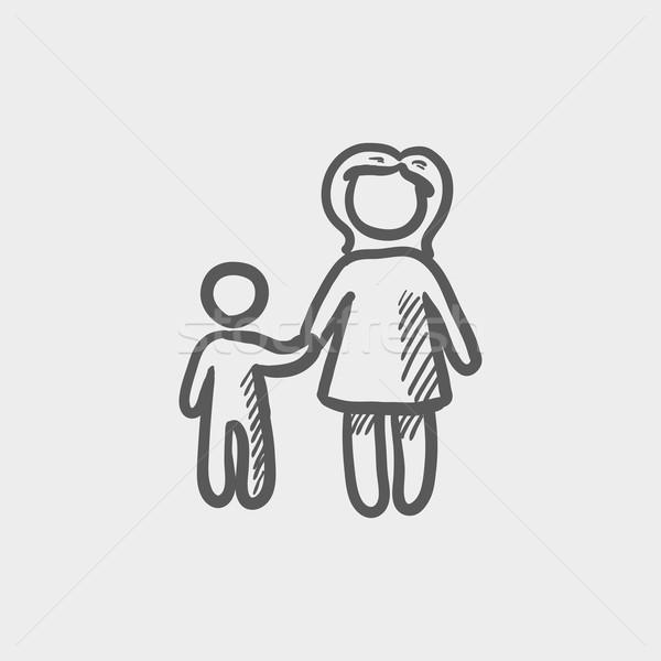 Mother and child sketch icon Stock photo © RAStudio
