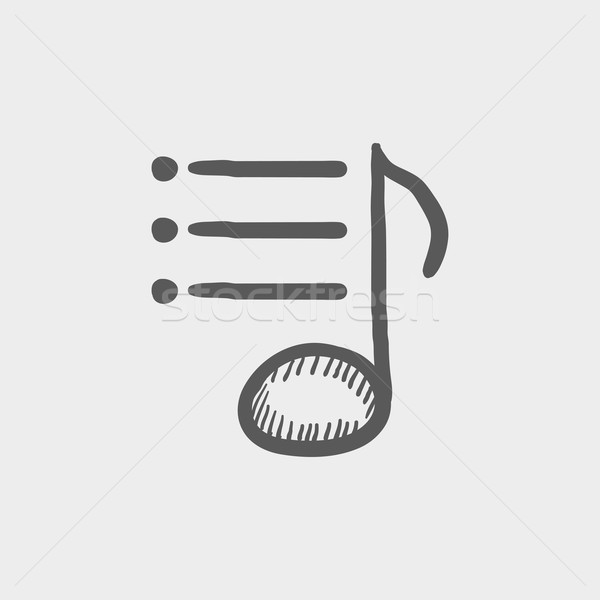 Musical note with bar sketch icon Stock photo © RAStudio