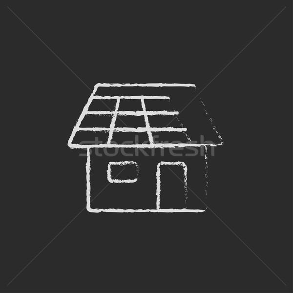 Huis zonnepaneel icon krijt Stockfoto © RAStudio