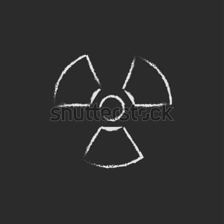 Promieniowanie podpisania ikona kredy Zdjęcia stock © RAStudio