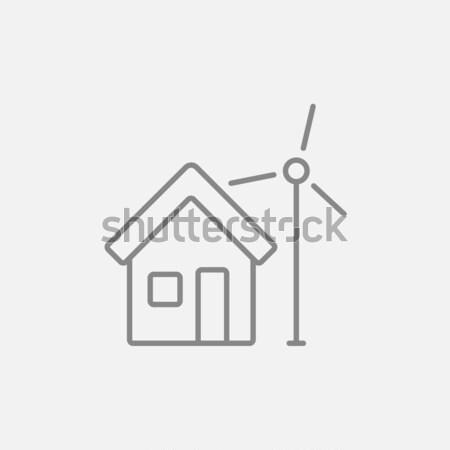 Casa molino de viento línea icono web móviles Foto stock © RAStudio