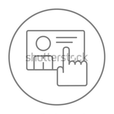 Mano spingendo touch screen pulsante line icona Foto d'archivio © RAStudio