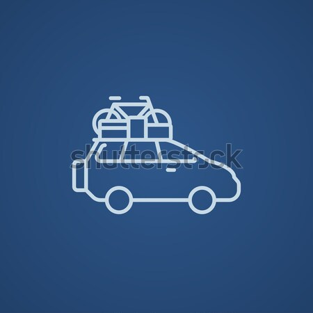 Car with bicycle mounted to the roof line icon. Stock photo © RAStudio