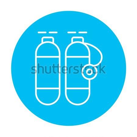 Oxigén tank vonal ikon háló mobil Stock fotó © RAStudio