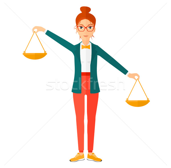 Business woman with scales. Stock photo © RAStudio