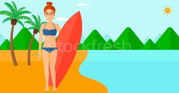 Szörfös tart szörfdeszka női áll tengerpart Stock fotó © RAStudio