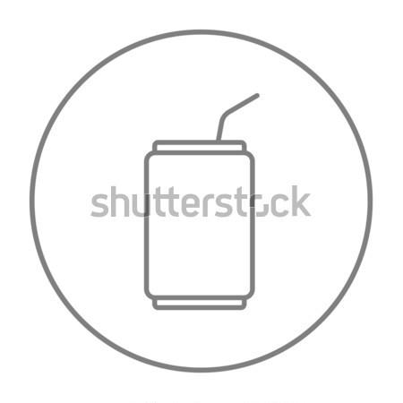 Drinken stro lijn icon web Stockfoto © RAStudio