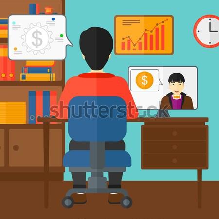 Business video onderhandelingen asian man vergadering Stockfoto © RAStudio