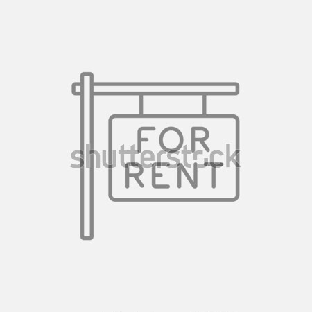 Stock photo: For rent placard line icon.