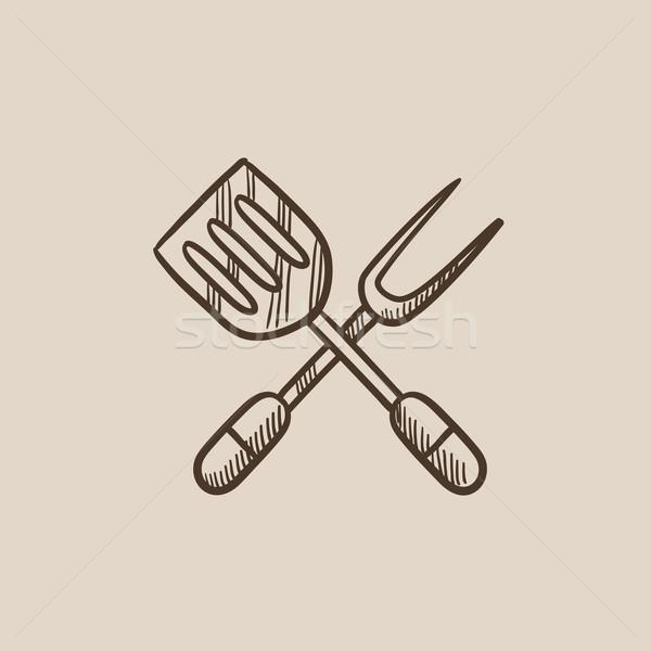 Cucina spatola grande forcella sketch icona Foto d'archivio © RAStudio