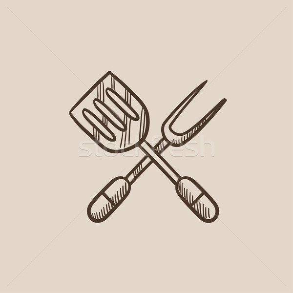 Cuisine spatule grand fourche croquis icône Photo stock © RAStudio