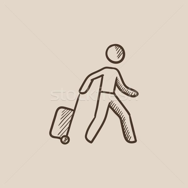 男 スーツケース スケッチ アイコン ウェブ 携帯 ストックフォト © RAStudio