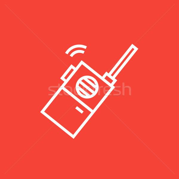 Portátil rádio conjunto linha ícone Foto stock © RAStudio