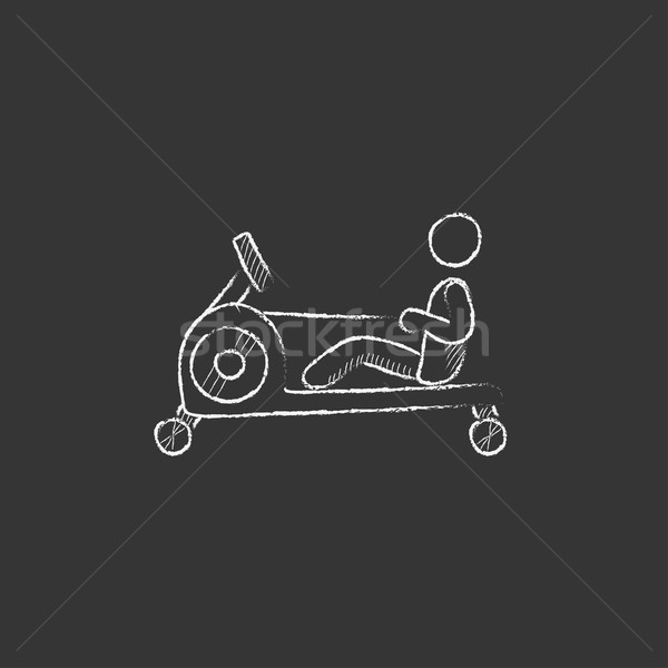 Man exercising with gym apparatus. Drawn in chalk icon. Stock photo © RAStudio