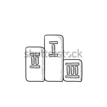 Nyertesek pódium rajzolt kréta ikon kézzel rajzolt Stock fotó © RAStudio