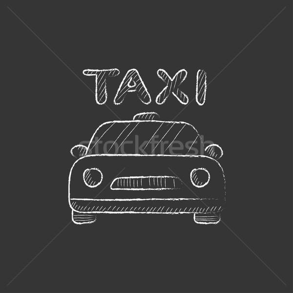 такси мелом икона рисованной вектора Сток-фото © RAStudio