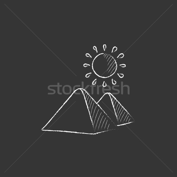 Egyptian pyramids. Drawn in chalk icon. Stock photo © RAStudio