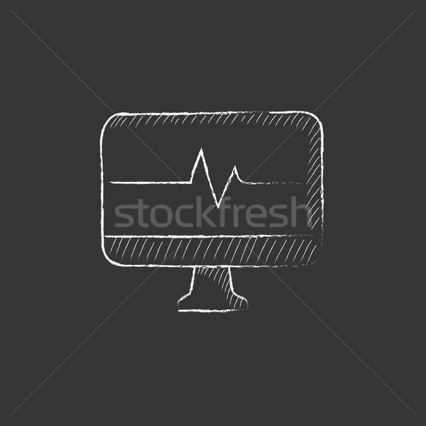 Photo stock: Battement · de · coeur · suivre · craie · icône · dessinés · à · la · main