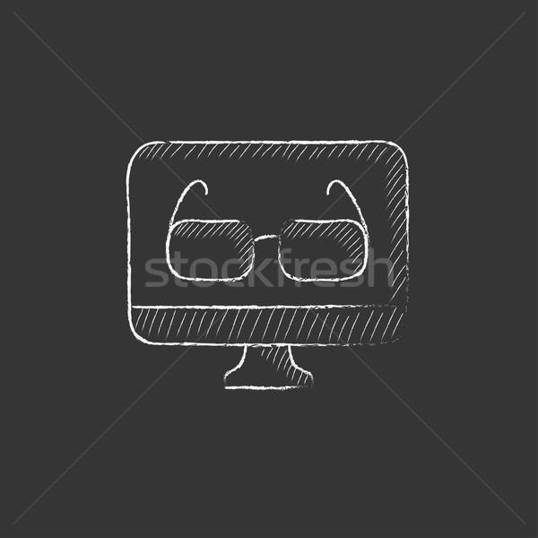 Gözlük bilgisayar monitörü tebeşir ikon Stok fotoğraf © RAStudio