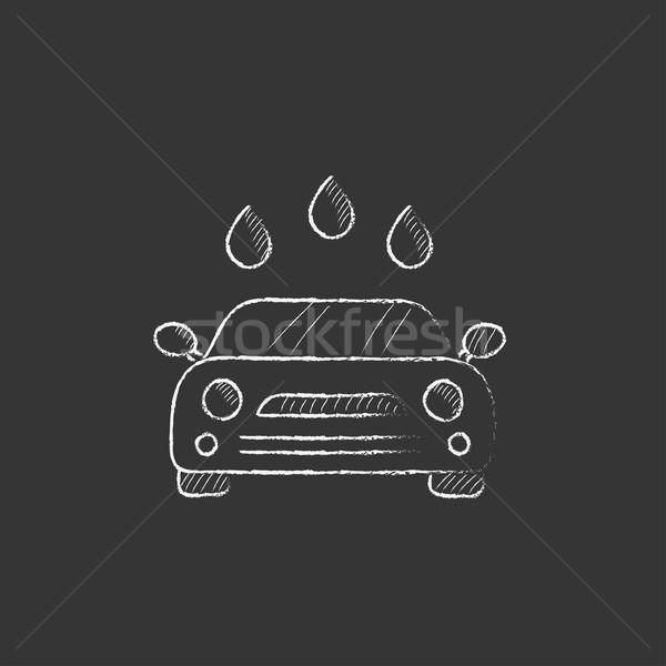 Lomtár rajzolt kréta ikon kézzel rajzolt vektor Stock fotó © RAStudio