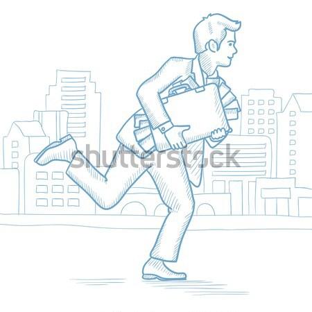 Man running with suitcase full of money. Stock photo © RAStudio