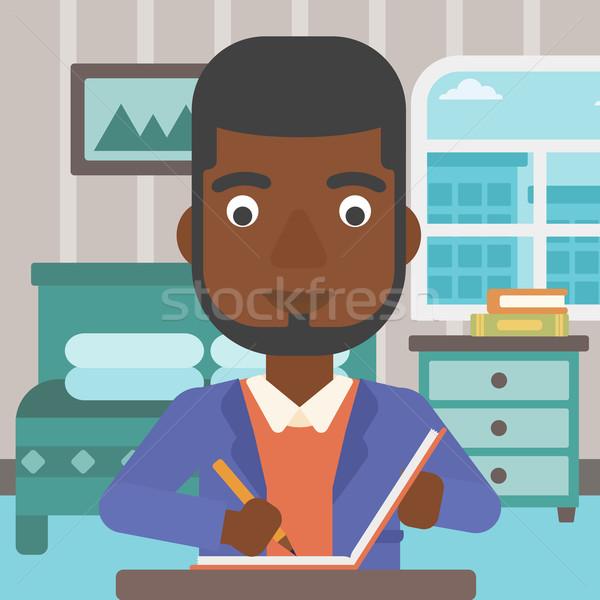 Verslaggever man vergadering tabel schrijven slaapkamer Stockfoto © RAStudio