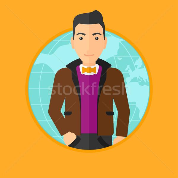 Zakenman wereldwijde business permanente wereldkaart vector Stockfoto © RAStudio