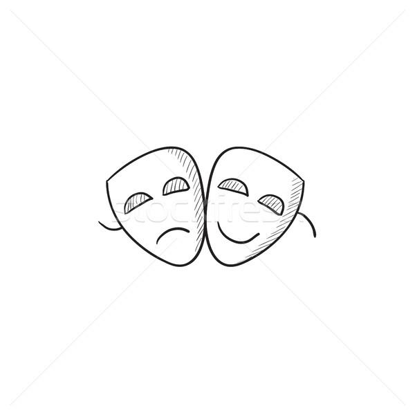 ストックフォト: 2 · マスク · スケッチ · アイコン · ベクトル