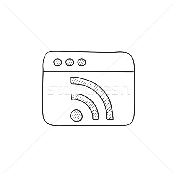 Stock photo: Browser window with wi fi sign sketch icon.