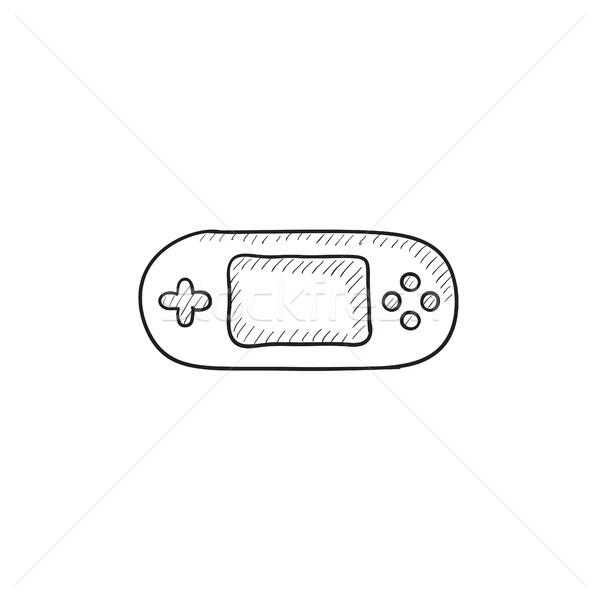 Játék konzol szerkentyű rajz ikon vektor Stock fotó © RAStudio