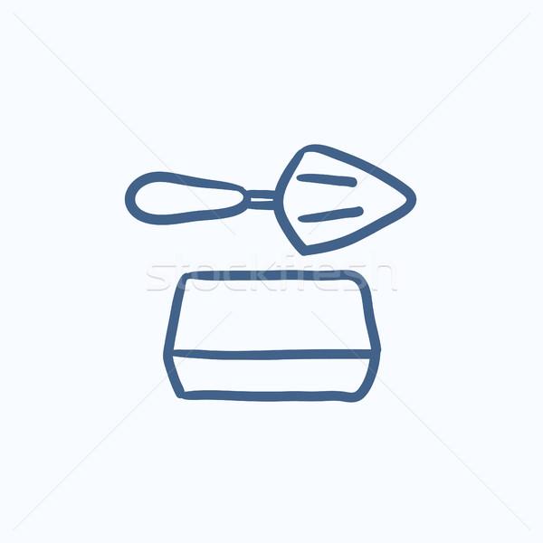 Spatula with brick sketch icon. Stock photo © RAStudio