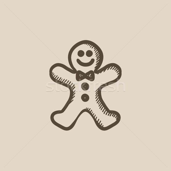 Gingerbread man croquis icône vecteur isolé dessinés à la main Photo stock © RAStudio