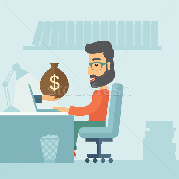 Businessman and laptop.  Stock photo © RAStudio