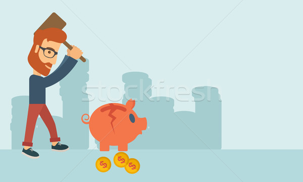 Man breaking piggy bank Stock photo © RAStudio