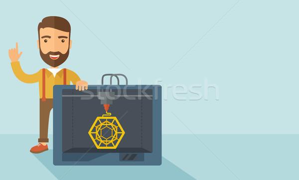 Industriellen 3D Drucker Mann zeitgenössischen Stil Stock foto © RAStudio