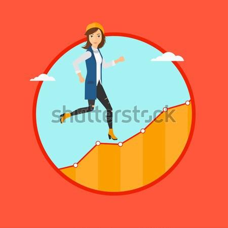 деловой женщины работает наверх роста графа Сток-фото © RAStudio