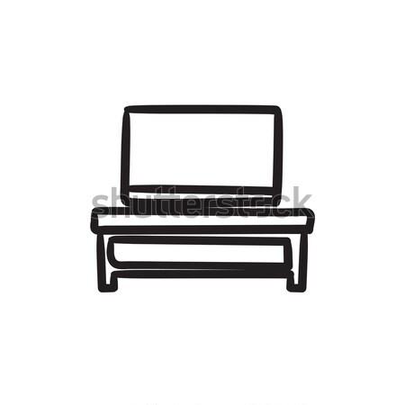 フラットスクリーン テレビ 現代 スタンド スケッチ アイコン ストックフォト © RAStudio
