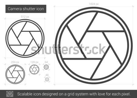 камеры затвор линия икона вектора изолированный Сток-фото © RAStudio