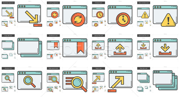 Stock photo: Application line icon set.