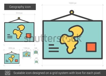 география линия икона вектора изолированный белый Сток-фото © RAStudio