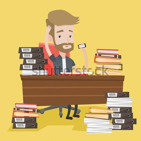 Stressed man working in office vector illustration Stock photo © RAStudio