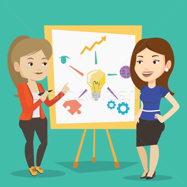 Dois negócio mulheres discutir projeto conselho Foto stock © RAStudio