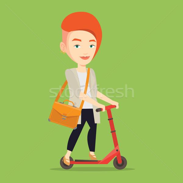 女性 ライディング キック スクーター 小さな 白人 ストックフォト © RAStudio